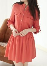 Rose Red Single Breasted Pleated Pockets Dress