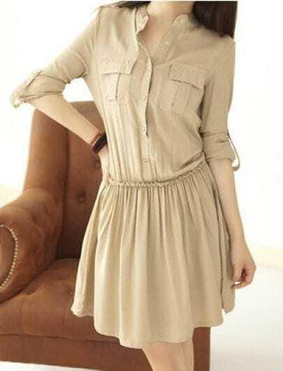 Khaki Single Breasted Pleated Pockets Dress