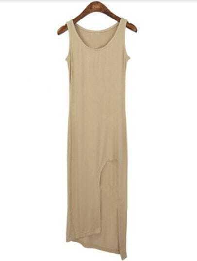 Nude Sleeveless Asymmetrical Hollow Modal Dress