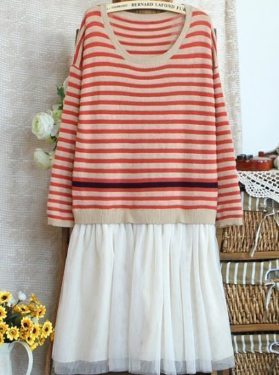 Red White Striped Lace Cotton Blends Dress