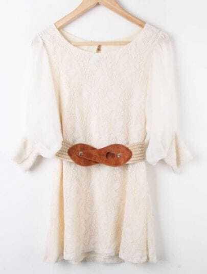 Apricot Round Neck Lace Bow Drawstring Waist Chiffon Dress