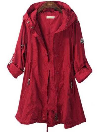 Red Hooded Single Breasted Zipper Trench Coat