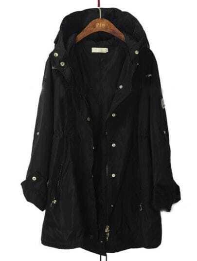 Black Hooded Single Breasted Zipper Trench Coat
