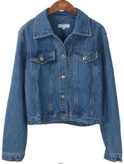 Dark Blue Single Breasted Lapel Denim Coat