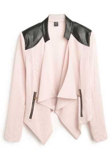 Pink Asymmetrical Leather Zipper Chiffon Coat