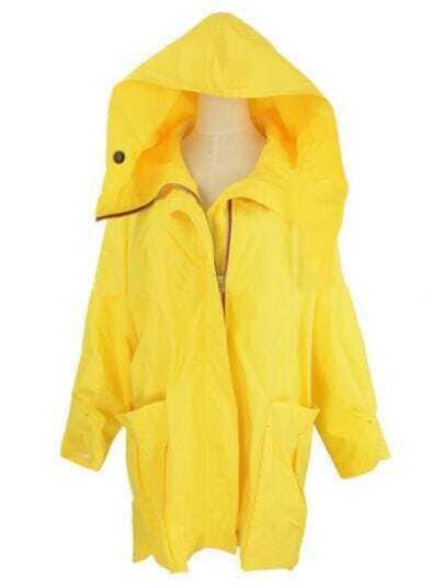 Yellow Hooded Zipper Pockets Trench Coat