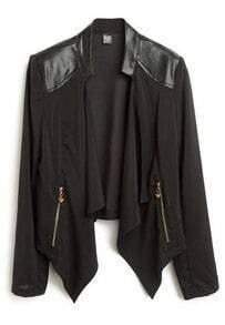 Black Asymmetrical Leather Zipper Chiffon Coat
