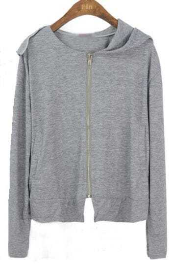 Grey Hooded Zipper Loose Modal Sweatshirt