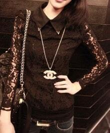 Black Lapel Lace Sleeve Hollow Embroidery Shirt