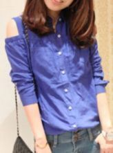 Blue Single Breasted Pleated Pockets Shirt