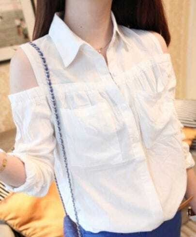 White Single Breasted Pleated Pockets Shirt