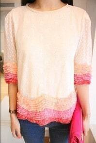 Pink Tassel White Short Sleeve Shirt