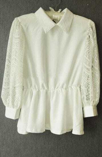 White Lapel Lace Long Sleeve Pleated Shirt