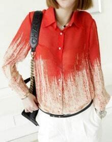Red Beige Lapel Single Breasted Chiffon Shirt