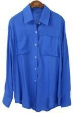 Blue Lapel Single Breasted Pockets Cotton Shirt