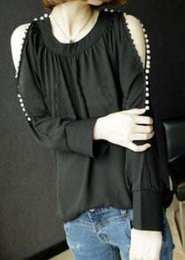 Black Off the Shoulder Pearls Chiffon Shirt