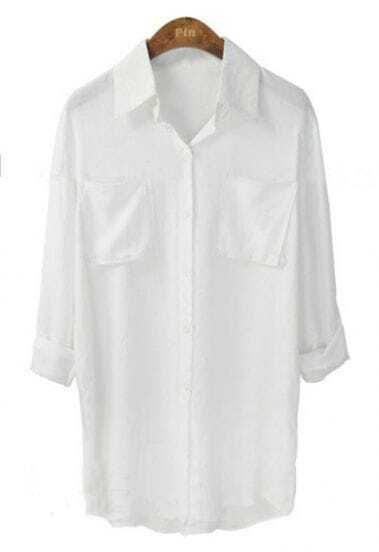 White Lapel Single Breasted Pockets Cotton Shirt