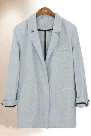 Blue Vintage Single Button Cotton Suit