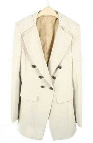 Beige Notch Lapel Double Breasted Fitted Suit