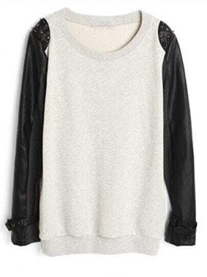 Light Grey Rivet Leather Cotton Sweatshirt
