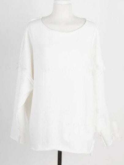 White Vintage Batwing Loose Cotton Sweatshirt