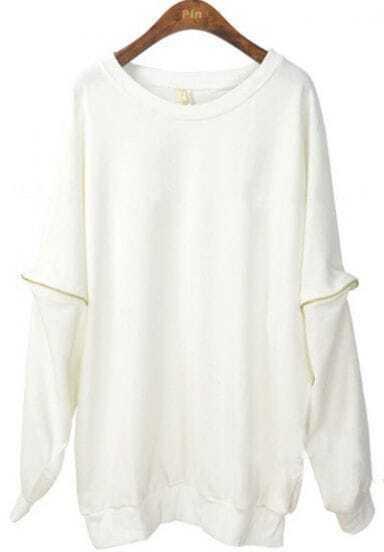 White Vintage Zipper Batwing Loose Sweatshirt