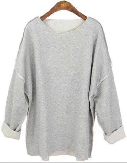 Grey Vintage Batwing Loose Cotton Sweatshirt
