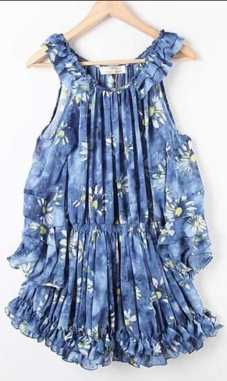 Blue Spaghetti Strap Pleated Floral Chiffon Dress