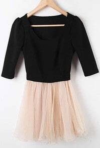 Black Nude Mesh Yoke High Waist Pleated Dress