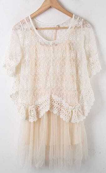 Apricot Lace Hollow Embroidery Pleated Two Pieces Dress