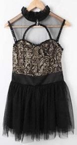 Black Sleeveless Lace Embroidery Chiffon Dress