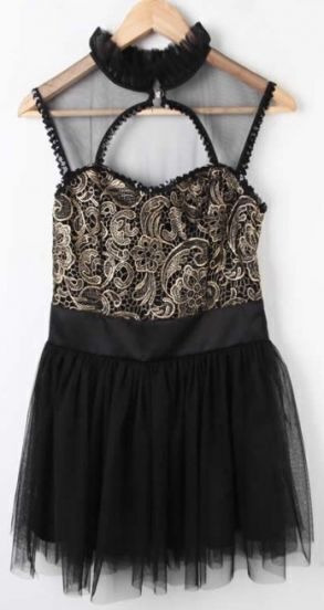 Black Sleeveless Lace Embroidery Chiffon Dress