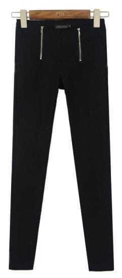 Black High Waist Elasic Zipper Leggings
