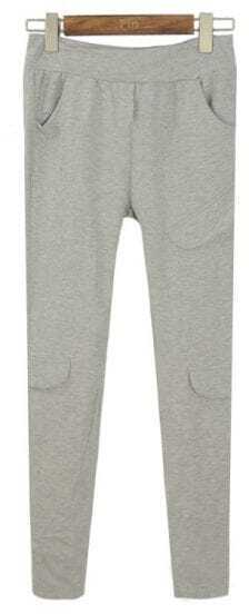 Light Grey Vintage Pockets Slim Leggings
