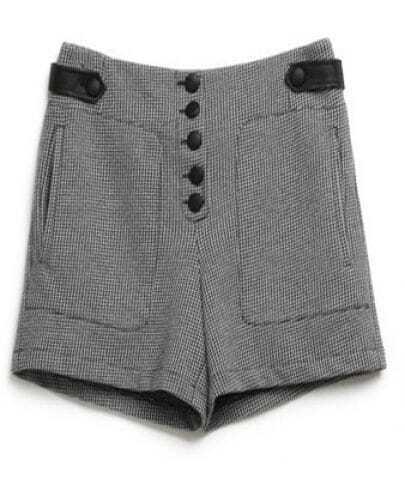 Black Plaid Buttons High Waist Shorts