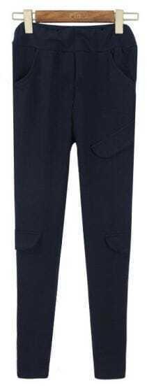 Navy Vintage Pockets Slim Leggings