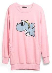 Pink Animal Print Cartoon Cotton Sweatshirt