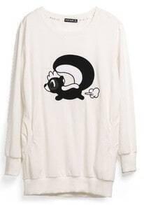 Beige Animal Print Cartoon Cotton Sweatshirt
