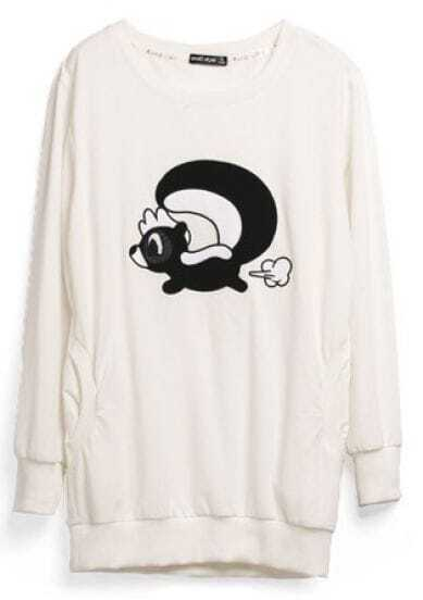 Beige Animal Print Cartoon Cotton Sweatshirt