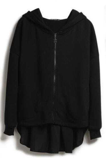 Black Hooded Asymmetrical Zipper Cotton Sweatshirt