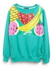 Turquoise Fruit Print Loose Cotton Sweatshirt