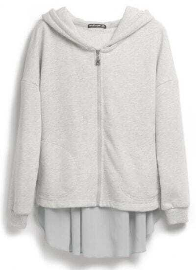 Grey Hooded Asymmetrical Zipper Cotton Sweatshirt