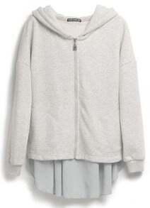 Grey Hooded Asymmetrical Zipper Cotton Sweatshirt
