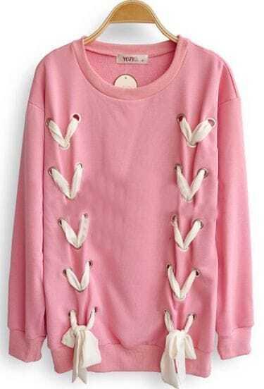 Pink Long Sleeve Ribbon Bow Loose Sweatshirt