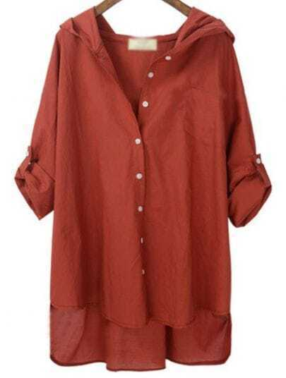 Red Hooded Batwing Letters Print Buttons Loose Blouse