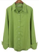 Green Lapel Batwing Buttons Loose Shirt