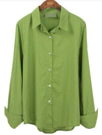 Green Lapel Batwing Buttons Loose Shirt
