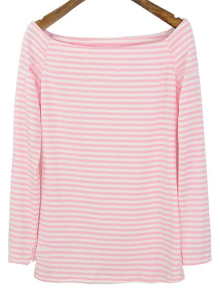 Pink White Striped Boat Neck Long Sleeve T Shirt Shein