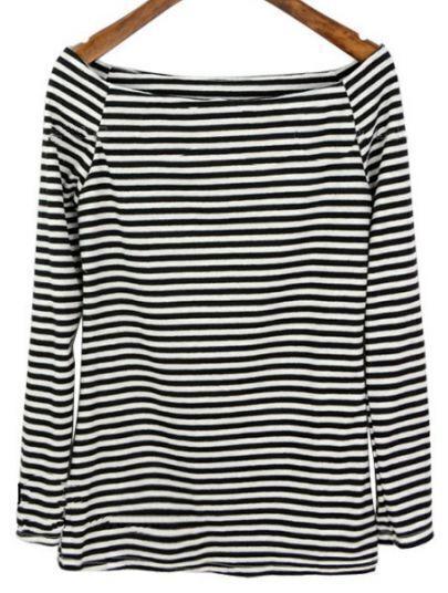 Black White Striped Boat Neck Long Sleeve T-Shirt