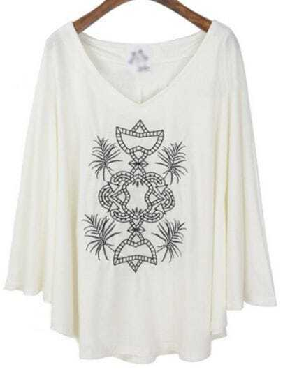 White Long Sleeve Loose Embroidery Batwing T-Shirt
